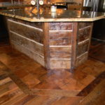 Hand Hewn Reclaimed Timber Island Cabinet on End Grain Blocks with Reclaim Custom Wood Flooring