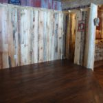 Carriage House Game Room with a Hickory Skip Sawn Floor