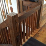 Carriage House Pine Flooring with Reclaim Newl Posts, Handrail, and Ballusters