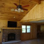 Character White Oak Floor Accented with a White Pine Ceiling