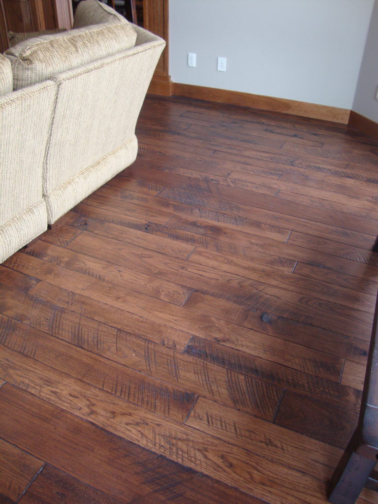 Circle Skip Sawn Hickory Wide Plank Flooring