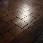 Coble Stone Pine Block Flooring with a Hickory Border
