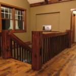 Reclaim Pine Handrails & Ballusters on a Character Skip Sawn White Oak Floor