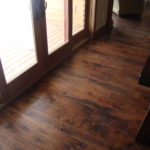 Rustic Wide Plank Hickory Floors with Circle Skip Sawn Face and Hard Scrape Edges