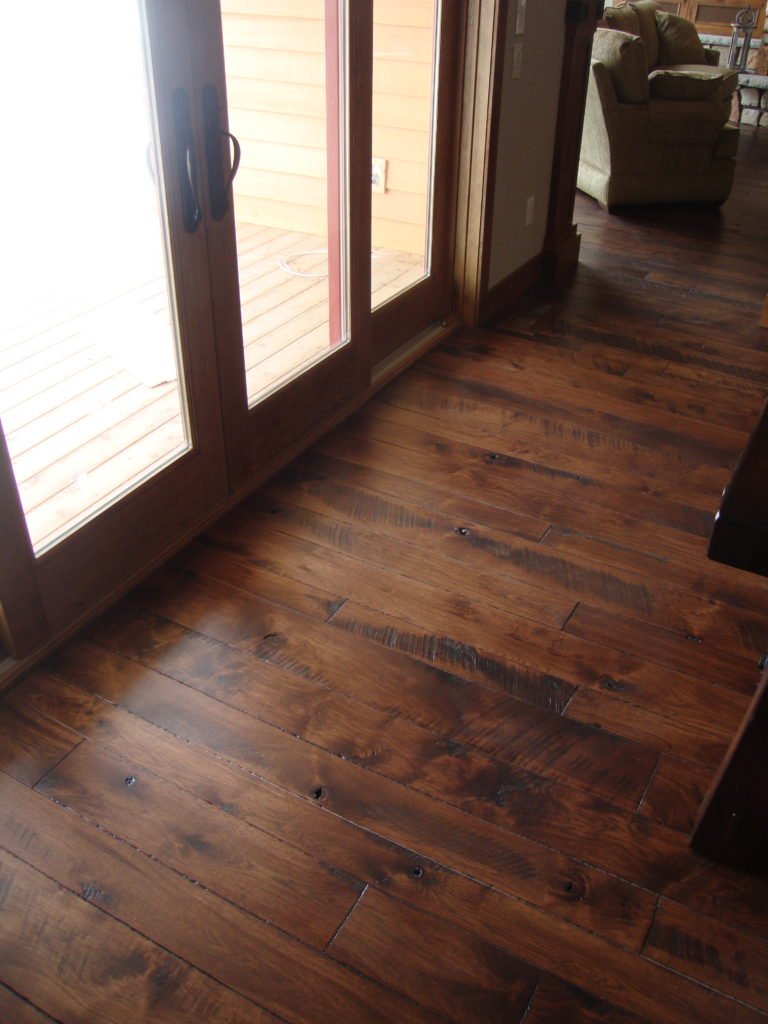 Rustic Wide Plank Hickory Floors With Circle Skip Sawn Face And Hard Se Edges