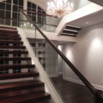 Walnut Stairs and Glass Grab Rail