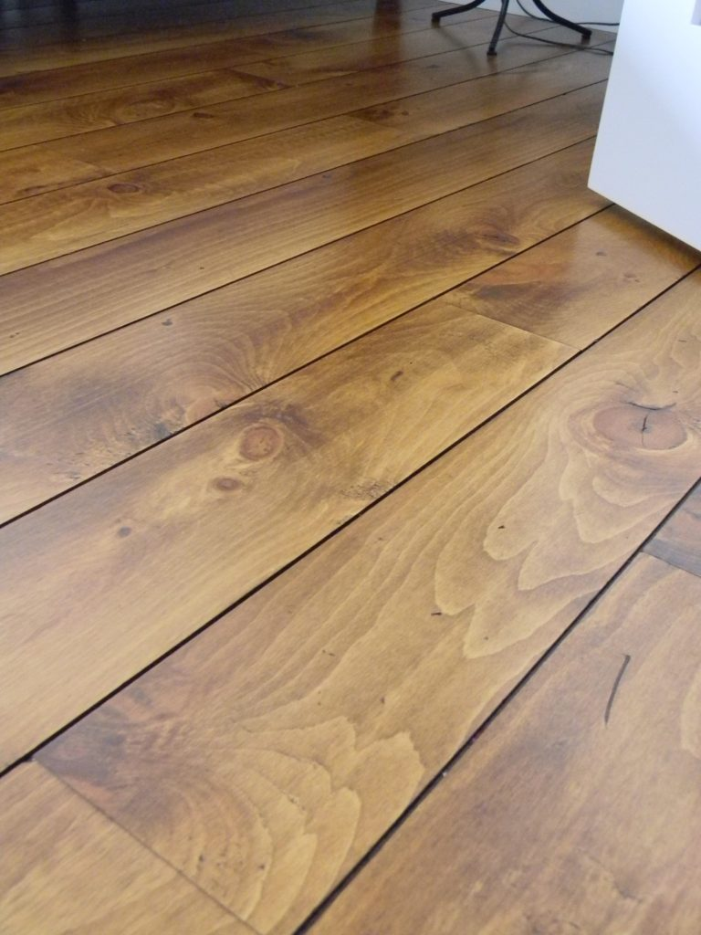 Distressed wood flooring wide plank for the hood for Hardwood decking planks