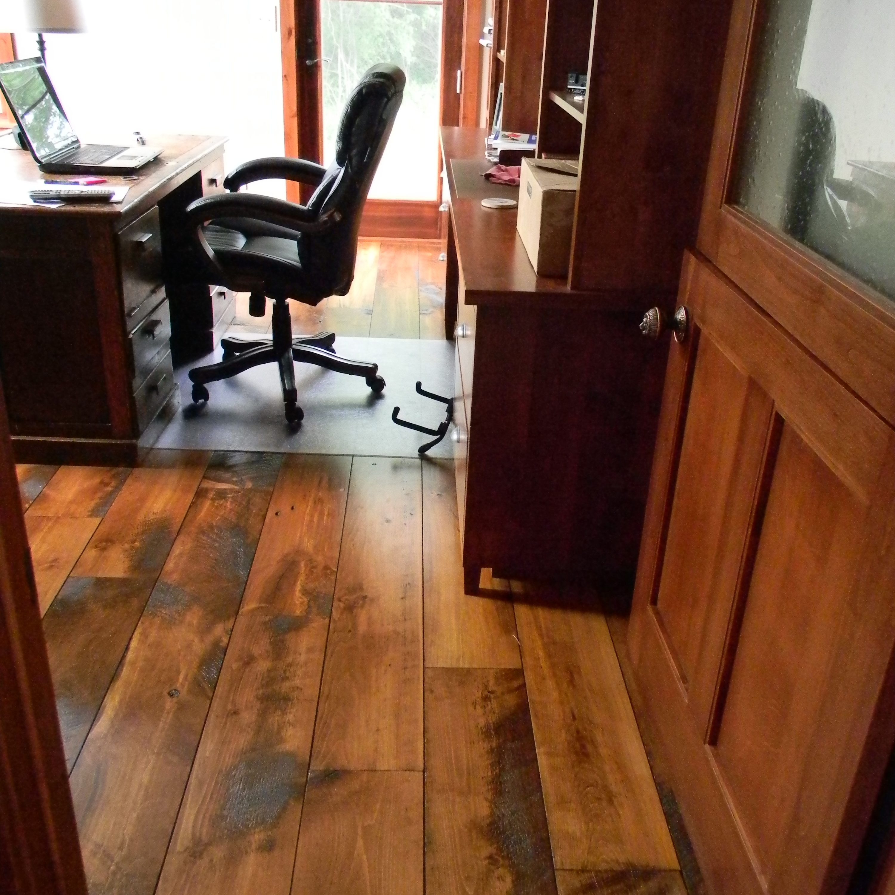 Carriage House Pine Wide Plank Floors in Home Office